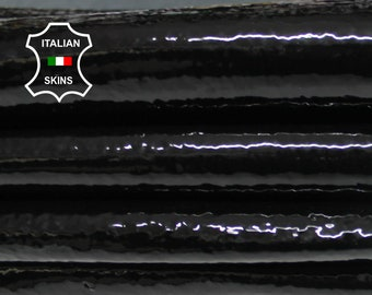 PATENT BLACK textured shiny Italian Calfskin Calf Cow cowhide genuine leather upholstery skin 13+sqf 1.3mm #P5