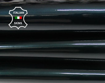 PATENT PEARLIZED TEAL dark deep teal green shiny look Italian Calfskin Calf Cow cowhide genuine leather upholstery skin 4-13sqf 0.8mm #P11