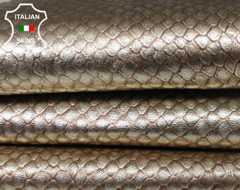 METALLIC PLATINUM TEXTURED grainy Light Gold Italian Goatskin Goat leather skin hide skins hides 4sqf 0.7mm #A5631
