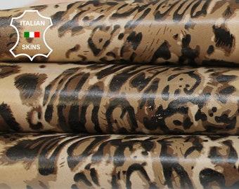 LEOPARD CAMEL SAND print textured on nude Italian Lambskin Lamb Sheep leather skin hide skins hides 7sqf 0.7mm #A6863
