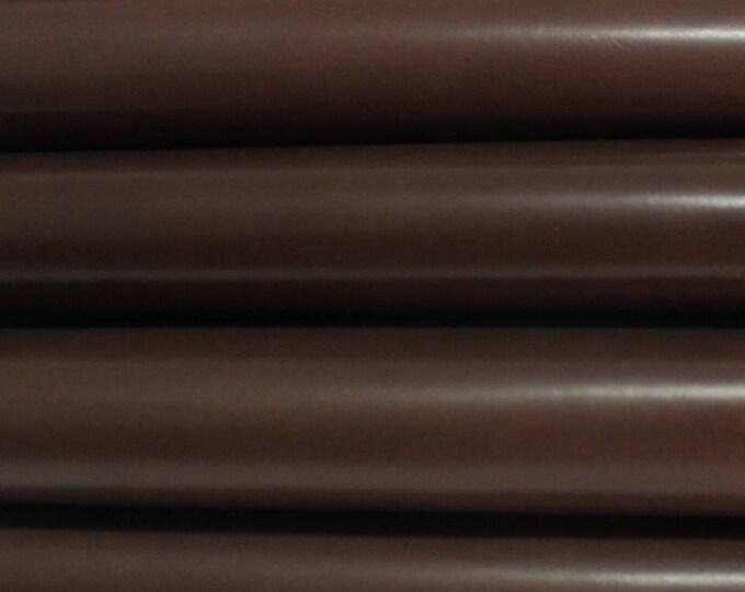 CHESTNUT BROWN SHINY  Calf Calfskin Italian genuine leather skin skins hide hides strong 6sqf #A2880