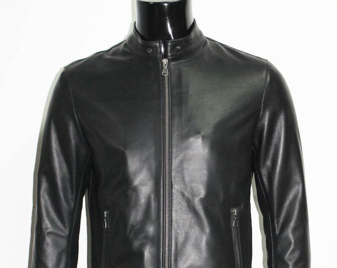 Italian handmade Fantastic slim fit Men soft genuine lambskin leather jacket color Black