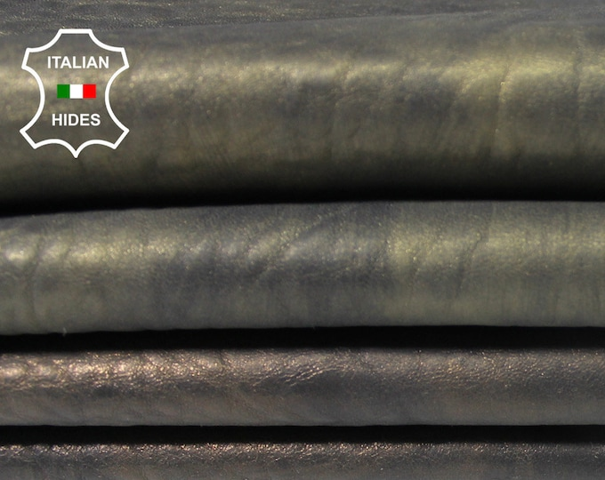 BRONZE DISTRESSED grainy antiqued thick Italian Lambskin Lamb Sheep leather 2 skins hides total 10sqf 1.5mm #A5148
