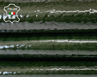 BUBBLY BOTTLE GREEN gloss patent thick shiny strong Italian calfskin calf cow upholstery leather skin skins hide hides 15-20sqf 1.5mm #A8266