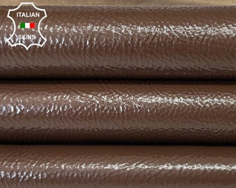 BROWN CRINKLE PATENT thick shiny Italian calfskin calf cow upholstery leather skin skins hide hides 19-23sqf 1.7mm #A8267