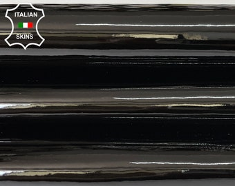 BLACK PATENT SHINY wet look Italian calfskin calf cow strong leather hide hides skin pack 2 skins total 5sqf 1.2mm #A8239