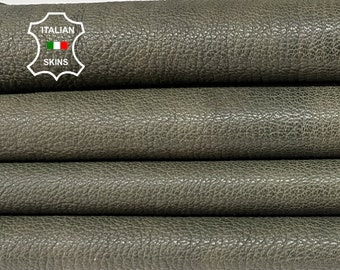 ARMY OLIVE GREEN grainy rough antiqued  vegetable tan thick Italian goatskin goat leather skin skins hide hides 6sqf 1.2mm #A8451