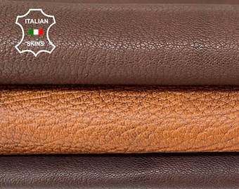 BROWN rustic antiqued rough vegetable tan Italian goatskin goat leather pack 3 skins total 10sqf 0.7-1.2mm #A8403