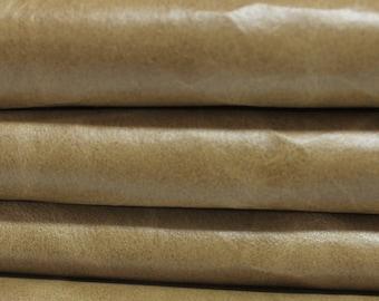 VINTAGE KHAKI BEIGE  Calf Calfskin Italian genuine leather skin skins hide hides 2 tones 18sqf #A2866