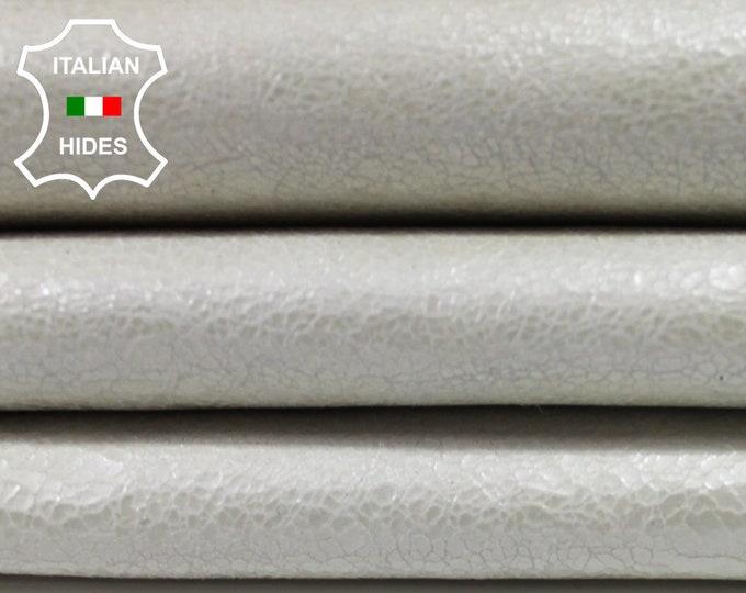 PEARL WHITE CRACKLE Cracked shiny Italian genuine Goatskin Goat leather skin hide skins hides 5sqf 1.0mm #A3852