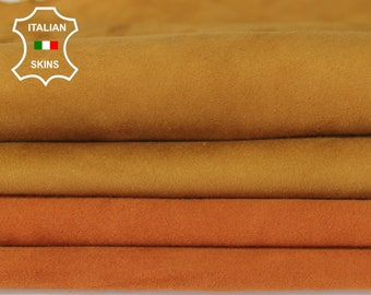 MUSTARD & TANGERINE SUEDE 2 shades soft Italian Lambskin Lamb Sheep leather material for sewing crafts 2 skins total 8sqf 0.6mm #A6718