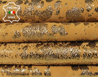 METALLIC OLD GOLD crinkle distressed on sand tan crinkled textured Goatskin Goat leather crafts skin skins 2sqf 0.7mm #A6266
