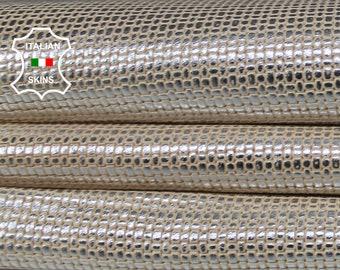 WOVEN Metallic Silver distressed on Beige Italian Lambskin Lamb Sheep leather 7 skins hides total 45sqf 0.8mm #A7089