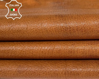 NATURAL BROWN ROUGH antiqued vegetable tan thick Italian goatskin goat leather skin skins hide hides 8sqf 1.2mm #A8457