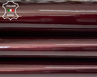 BURGUNDY PLUM PATENT shiny wet look Italian calfskin calf cow leather hide hides skin pack 2 skins total 7sqf 1.0mm #A8240