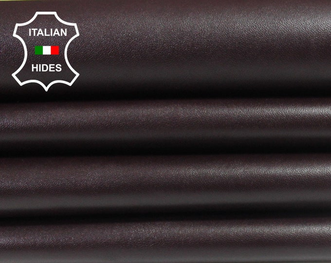 PLUM BURGUNDY SMOOTH Italian Goatskin Goat leather 3 skins hides total 16sqf 0.9mm #A4001