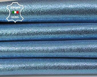 AZURE SHIMMER and SHINE light blue crackle pearlized Goatskin Goat Leather skins hides material for sewing crafts 3sqf 0.8mm #A6022