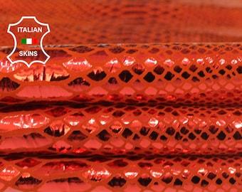 METALLIC FIRE RED orangy orange red snake print textured Italian Goatskin Goat leather skin hide skins hides 2+sqf 0.8mm #A6937