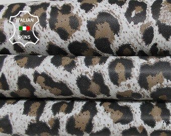 WHITE LEOPARD PRINT on Italian Goatskin Goat leather material for sewing crafts fabric skin hide skins hides 3sqf 0.9mm #A6015