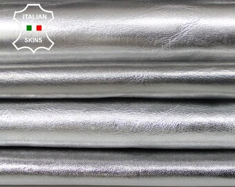 METALLIC SILVER 4 SHADES Italian Goatskin Goat leather material for sewing crafts  pack 4 skins hides total 12sqf 0.7mm #A6129