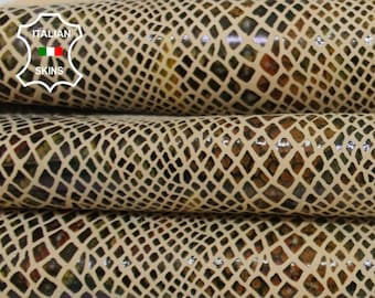 AUTUMN COLORS SNAKE print on ivory textured Italian Goatskin Goat leather hide hides skin skins 9sqf 0.7mm #A6881