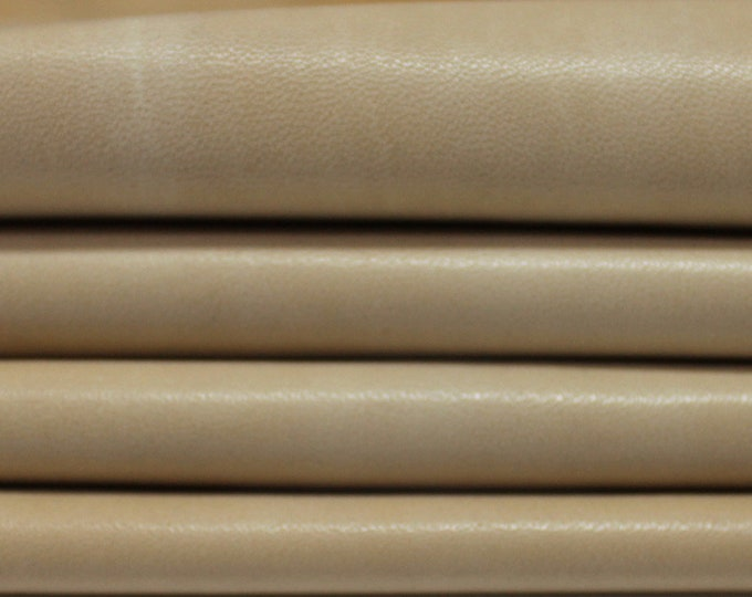 SANDY LIGHT TAN natural vintage vegetable tan Italian genuine lambskin lamb sheep leather 2 skins hides 16sqf 0.6mm #A3616