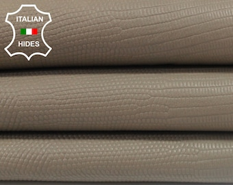 KHAKI BEIGE reptile embossed vegetable tan Italian genuine Lambskin Lamb Sheep leather skin hide skins hides 5sqf 1.0mm #A3903