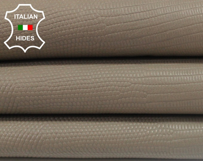 KHAKI BEIGE reptile embossed vegetable tan Italian genuine Lambskin Lamb Sheep leather skin hide skins hides 5sqf 1.0mm #A3903