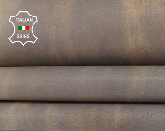 BEIGE DISTRESSED VINTAGE Look Italian Lambskin Lamb Sheep Genuine leather fabric material sewing crafts skin 9sqf 0.9mm #A6098