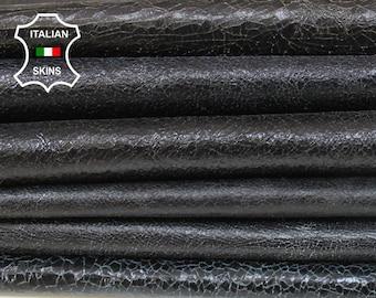 BLACK CRACKLED crackle Italian genuine Lambskin Lamb Sheep leather pack 6 skins hides total 28sqf 0.9mm #A7113