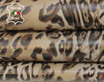 LEOPARD CAMEL SAND print textured on Beige Italian Lambskin Lamb Sheep leather skin hide skins hides 7sqf 0.7mm #A6862