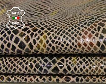 SNAKE print on Nude textured Italian Lambskin Lamb Sheep leather 3 hides skins total 24sqf 0.7mm #A7074