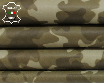 OLIVE CAMO PRINT green camouflage army Italian Goatskin Goat leather fabric for sewing craft skin hide skins hides 4sqf 0.7mm #A6012