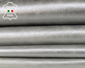 METALLIC SILVER CHROME steel vintage look Italian Goatskin Goat leather material for sewing crafts 8 skins hides total 35sqf 0.7mm #A6134