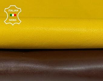 PACK YELLOW & BROWN vegetable tan Italian goatskin goat leather skin pack 2 skins total 8sqf 0.8-1.0mm #A8419