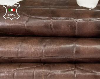 BROWN CROCODILE EMBOSSED textured rustic antiqued vegetable tan Italian goatskin goat leather skin hide hides skins 9sqf 0.5mm #A8339