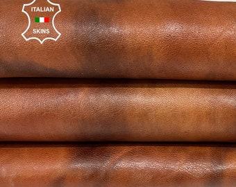 COGNAC BROWN DISTRESSED vegetable tan soft Italian lambskin lamb sheep leather skin skins hide hides 4+sqf 1.1mm #A8427