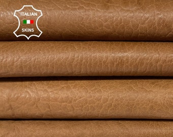 BUBBLY GRAINY BROWN rustic antiqued vegetable tan thick Italian lambskin lamb sheep leather skin hide hides 6 skins total 30sqf 1.4mm #A8309