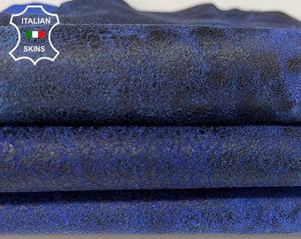 ANTIQUED BLUE DISTRESSED stonewash vintage look soft Italian Lambskin Lamb Sheep leather skin skins 6sqf 1.0mm #A7623