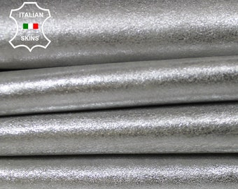 METALLIC SILVER VINTAGE look Italian Goatskin Goat leather material for sewing crafts  4 skins hides total 22sqf 0.8mm #A6133