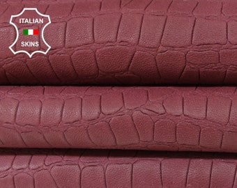 NATURAL WINE RED Crocodile embossed textured vegetable tan thick soft Lambskin Lamb Sheep leather 2 skins total 18sqf 1.3mm #A5998