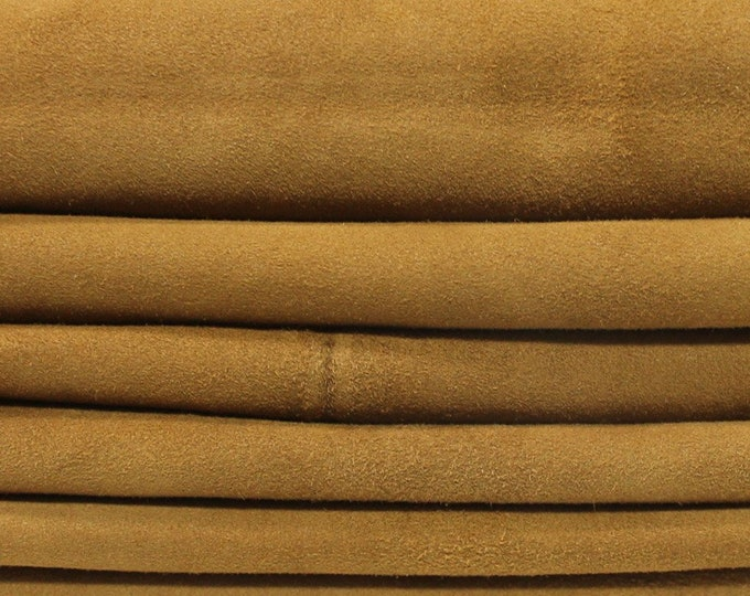 LIGHT BROWN SUEDE soft Italian Lambskin Lamb sheep leather 6 skins hides total 25sqf 0.6mm #A4513