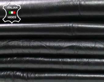 BLACK WRINKLED Italian Lambskin Lamb Sheep leather material for sewing 2 skins hides 12sqf 0.6mm #A4465