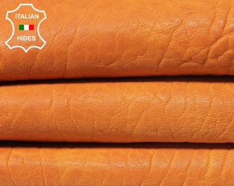 WASHED ORANGE GRAINY vegetable tan Italian Lambskin Lamb Sheep leather material for sewing skin hide skins hides 5sqf 1.0mm #A4890