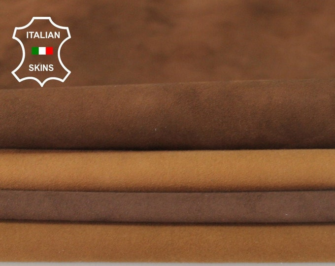 4 SHADES BROWN SUEDE soft Italian Lambskin Lamb Sheep leather material for sewing crafts 4 skins hides total 16sqf 0.7mm #A6717