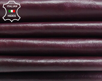 PLUM BORDEAUX CRINKLE antiqued genuine Italian Lambskin Lamb Sheep leather skin hide skins hides 5sqf-8sqf 0.7mm #AMp150