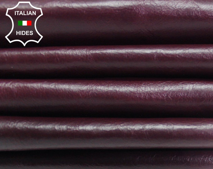 PLUM BORDEAUX CRINKLE antiqued genuine Italian Lambskin Lamb Sheep leather skin hide skins hides 5sqf-8sqf 0.7mm #AMp150