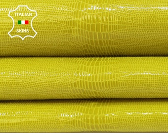 YELLOW TEJUS REPTILE texture print textured shiny Italian Goatskin Goat leather skin skins 2-3sqf 0.7mm #A6924