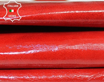 RED PATENTdistressed crinkle shiny Italian Lambskin Lamb sheep leather skin hide skins hides 5sqf 0.5mm #A5467