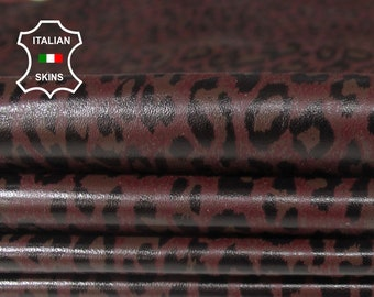 PLUM BURGUNDY LEOPARD print soft Italian Lambskin Lamb Sheep Leather material for sewing crafts 3 skins total 20sqf 0.6mm #A6400